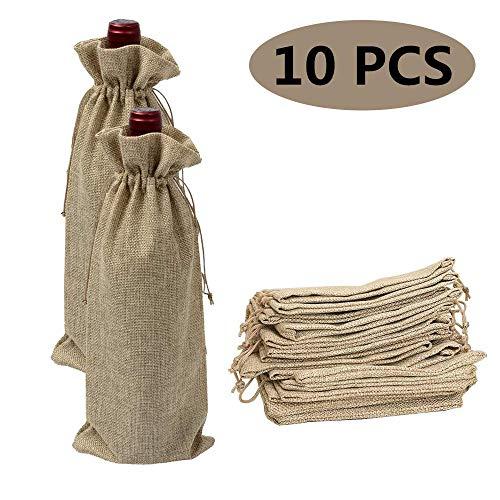 10 Pièces Sacs Cadeaux Vin, Sacs de vin de Jute 35 x 15 cm de Vin Cadeau Sacs couvertures vin de stockage organisation Sacs avec cordon de serrage vin en toile de jute Sacs Cadeau de Noel (Marron)