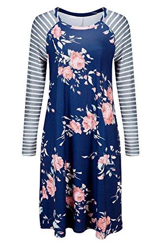 Walant Damen Blumen Streifen Langarm Rundhals Kleider Lose Sommerkleid Strandkleid Niedlich A-Linie Kleid Größe S-3XL Blau