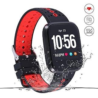 Monitor de Actividad,Reloj Inteligente de Fitness,Pantalla HD,Monitor de Actividad con podómetro/frecuencia cardíaca y Alarma NS/Mapa de Running GPS,para Hombres y Mujeres,iOS Android