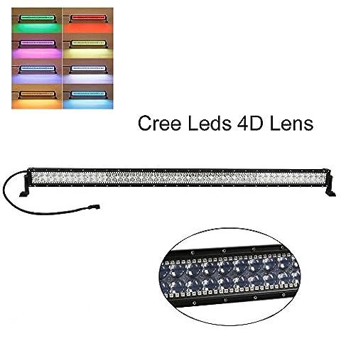colorbarz® droite 127cm 288W RGB Câblage Halo LED lumière Bar avec application Bluetooth et télécommande pour Rock Kit LED Off Road lumineux Bluetooth pour voiture/camion extérieur 4Wheeler LED imperméable