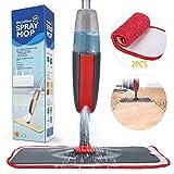 Fixget Wischmopp Sprühwischer, Spray Mop mit Sprühdüse,Bodenwischer mit Sprühfunktion für schnelle Reinigung, Spray Mop Wischmopp mit Wassertank und 2-Mikrofaserbezug (Rot)