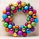 MMLsure Weihnachtskranz Christbaumkugeln,55er Weihnachtskranz mit Bruchsicheren Kugeln,Mehrfarbig Optional (Multicolor)
