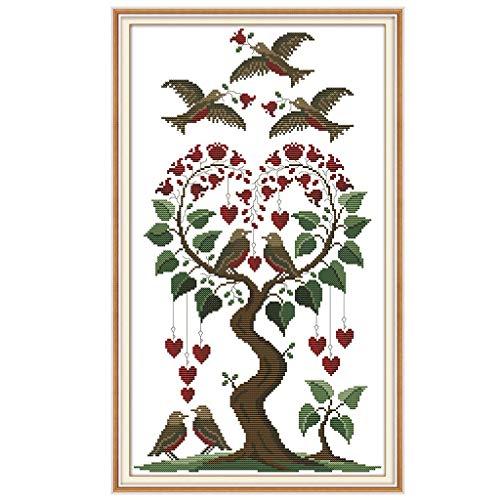 Fliyeong Herz Baum Vogel DIY handgemachte Hand gezählt 14CT gedruckt Kreuzstich Stickerei Kit Set Hauptdekoration langlebig und nützlich -