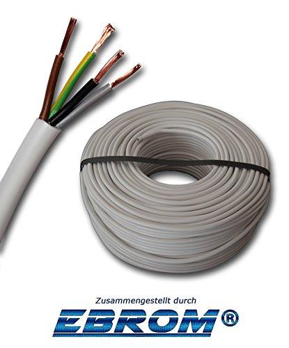 Kunststoff Schlauchleitung rund LED Kabel Leitung Gerätekabel H03VV-F 4x0,75 mm² (mm2) 4G0,75 - Farbe: weiß 10m/15m/20m/25m/30m/35m/40m/45m/50m/55m/60m usw. bis 250 m in 5 Meter Schritten - 0.75