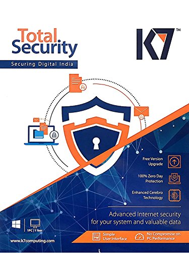 K7 Total Security 2016 New Slim Pack 5 Pc 1 Year 5 Instalation CDs, 5 Serial Keys Every Key 1Year Validity) Free Money Purse