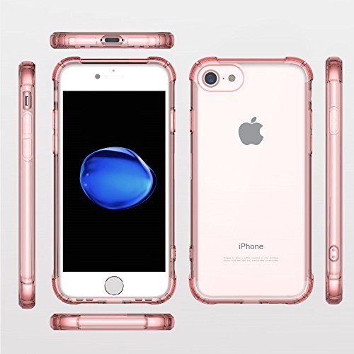 Coque iPhone 7 , Ultra Mince Premium TPU Transparent Hybride [ Protection contre les chutes / Technologie d'absorption / Anti-Scratch / caméra Protection] Coque Pour iPhone 7 (2016) (Rose) Rose Gold