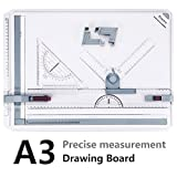 Tablero de Dibujo A3, Preciva Drawing Board A3 50 x 36.5cm Diseño de Mesa con Movimiento Paralelo y Ángulo Ajustable,Color blanco