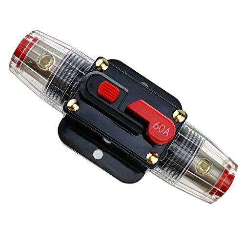 RKURCK 60A Schutzschalter, Sicherungshalter Manuelle Rückstellung Inline-Sicherungsblock für Auto Audio Marine Trolling Motoren Boot ATV Audio Solar Wechselrichter System Schutz 12V-24V DC 60 Amps