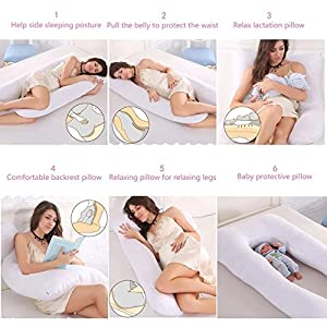 Teddybear.lt Pregnancy/Maternity Pillow, Full Body U-Shaped Pillow with Washable Cover 50x30