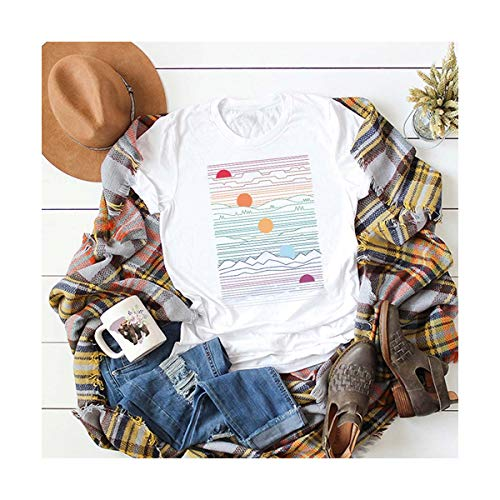 Fashion Women T-Shirt Short Sleeves O Neck Sunrise Print Camisetas Mujer 5XL Plus Size Cotton Cool Tees Casual Tops 2019 White L -