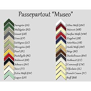 RahmenMax Passepartout MUSEO bis Außenmaß 30,0 x 40,0 cm. Individueller Zuschnitt nach Ihren Angaben - 26 Farben. Aktuelle Auswahl: Cremeweiß