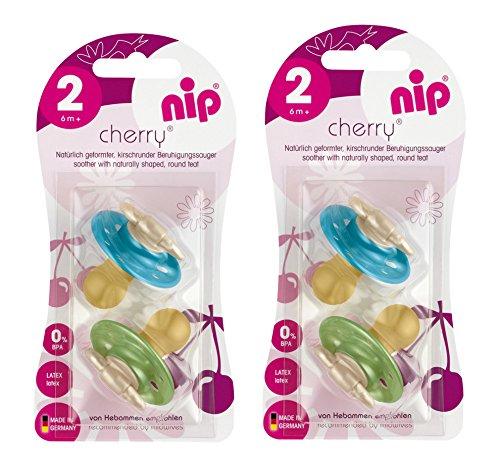 nip Rundsauger Cherry Doppelpack Boy, Latex, Größe 2 (ab 6 Monate)