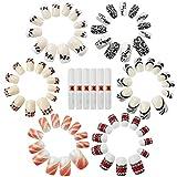 com-four® 72x künstliche Fingernägel in Verschiedenen Designs mit Nagelkleber (72 Stück - Mix 1)