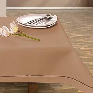 150x260 cm beige Tischdecke Tischtuch elegant praktisch pflegeleicht Leinoptik Lein Optik mit Borte Modern Lein