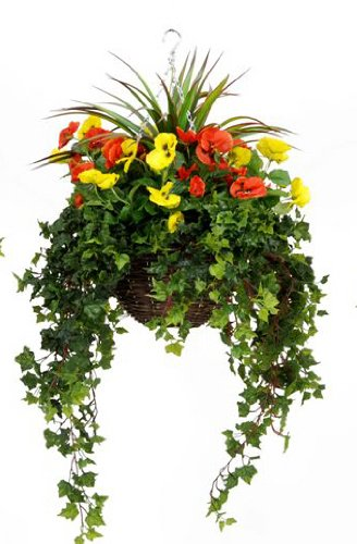 Artificial Silk Pansy Large Hanging Basket - Yellow & Red Pansies