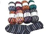 Super Sparpaket ONline Sockenwolle (Merino) 100 SORT.247 Bambus Color, 8 x 100 Gramm, 4-Fach Sockenwolle, (je Farbe 1 x).