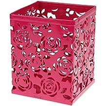 Georgie ®-Bote de almacenamiento para lápices de metal para brochas de maquillaje, diseño de cuadrados, color rosa, color Rouge rose