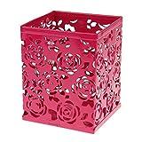 BXT® Pot à Crayon Carré en Métal Porte-plume Organisateur Bureau Multifonction Crayon Pot Pinceau en Rose Fleur Boite Stylos Rangement Bureau Pot de Rangement Pour Bureau Couleur- Rose Foncé