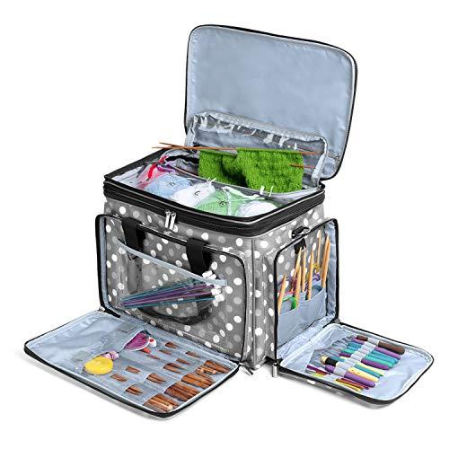 Luxja borsa filati, borsa maglia, borsa per uncinetto per matasse di filati, porta uncinetti, ferri maglia e altri accessory, punti grigi
