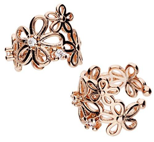 MYA art Damen 2er Set Ohrklemme Ear Cuff Ohrringe 925 Silber Rosegold Vergoldet Blumen mit Zirkonia MYASIOHR-23