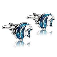Adisaer Stainless Steel Cufflinks for Men Animal Tropical Fish Silver Blue Business Wedding Cufflink