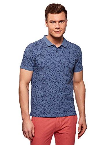 oodji Ultra Herren Bedrucktes Pique-Poloshirt, Blau, DE 56 / XL