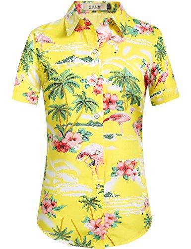SSLR Damen Bluse Kurzarm Hawaii Hemd Flamingos 3D Gedruckt Button Down Freizeit Lose Aloha Shirts Tops für Strand Reise (Large, Gelb) - Gelbe Hawaii-shirt