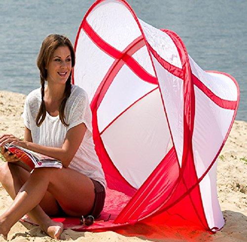 Dreams4Home Strandmuschel 'Den' - Strandzelt, Windschutz, Schattenspender, Sichtschutz, Muschel, Fiberglas, Pop-Up Funktion, Strand, B/H/T: 122 x 122 x 91 cm, mit UV-Schutzfaktor, in rot / weiß