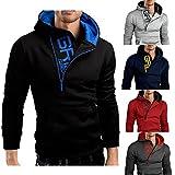 Herren Unregelmäßiger Reißverschluss-Brief PrintedHooded Langarm-Mantel Outwear Pullover Casual Shirt Sport T-Shirts Hoodie Tops, Plus Size (M-3XL) -bbsmile (M, Dunkel grau)