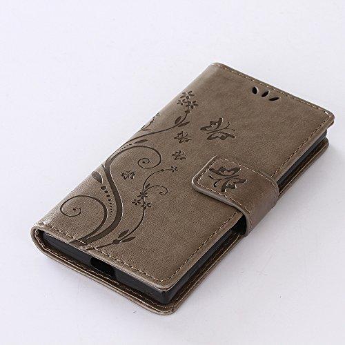 Sony Xperia X Compact Hülle, Sony Xperia X Compact Schutzhülle, Alfort 3 in 1 Lederhülle Fashion Design Premium PU Leder Hohe Qualität Tasche Case Cover Kasten Abdeckung Wallet für Sony Xperia X Compa Grau