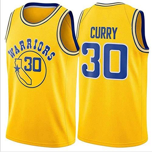 AKCHIUY Herren-Basketballtrikot - Golden State Warriors # 30 Stephen Curry , Basketball Swingman Jersey Sportbekleidung, ärmelloses T-Shirt,Yellow-L (Stephen Curry Swingman Jersey)