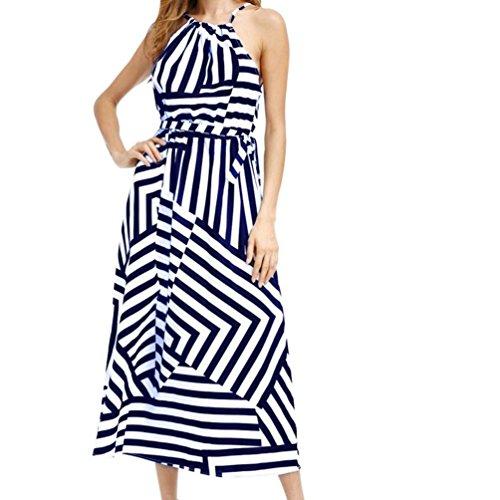 FEITONG Frauen Kleid Boho Maxi Sommer Abendliche Party Strand Gestreiftes  Kleid Blau