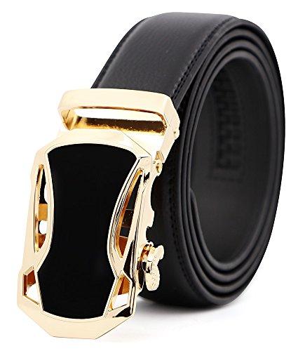 3ZHIYI Cinturón cuero de la correa de trinquete hebilla automática de los hombres,35mm,negro