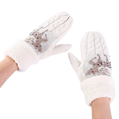 Latex-plüsch (FeiBeauty Weihnachten und Element Elk Gestrickte Plüsch Warme Handschuhe Outdoor Winddicht Schnee Handschuhe)