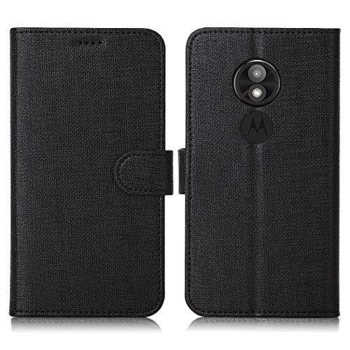 Eastcoo Motorola Moto E5 Play Hülle Schutzhülle Tasche Handyhülle Cover PU Leder Folio Flip Dünn Premium klappbares Book Case [Mit Standfunktion][ Magnetverschluss] [Kartenfach] [Wallet](Black)