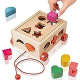 EXTSUD Gioco Forme a Incastro per Bambini in Legno Giocattolo Educativo Cubo Legno Giochi per Bimbi 1 2 3 Anni Forme Geometriche Blocchi Tridimensionali Classico Gioco Didattico Prima Infanzia