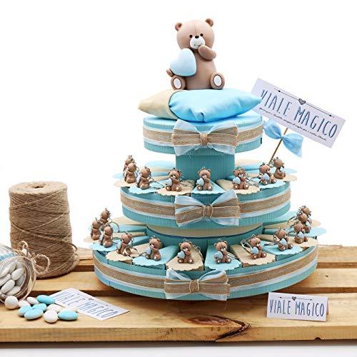 Vialemagico bomboniere nascita torte con orsetti cuore bimbo portachiave millecuori tr1005p (torta da 35 fettine)