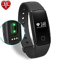 Fitness Armbanduhr,Yamay Fitness Tracker mit Herzfrequenz Pulsuhren Aktivitätstracker Fitnessuhr Bluetooth Smartwatch Schrittzähler Vibrationswecker Anruf SMS SNS Vibration für iOS und Android Handy