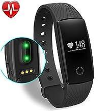 YAMAY® Pulsómetro para deporte-Monitor de actividad del ritmo cardíaco, podómetro, contador de calorías, monitor de sueño, notificaciones de llamada - Para iPhone iOS y Android