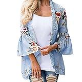 TEBAISE Frühlings-Frauen-täglicher weicher Klage-Druck-Spitze-Blumen-geöffnete Kap-beiläufige Mantel-lose Bluse Kimono-Jacken-Wolljacken-Oberbekleidung(Himmelblau,EU-48/CN-XL)