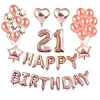 Weimi 21st Birthday Decorations Rose Gold for Girls Inflating Foil HAPPY BIRTHDAY Banner Star Heart Foil Balloon Confetti Latex Balloons with Clear String for Girls Women Party Supplies