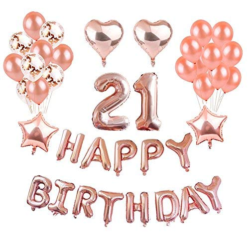 (Weimi 21. Geburtstag Dekorationen Rose Gold für Mädchen Selbst Aufblähen Folie Happy Birthday Banner Stern Herz Folie Ballon Konfetti Latex Ballons mit Klaren String für Girls Women Party Supplies)