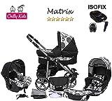 Chilly Kids Matrix II Kinderwagen Safety-Set (Autositz & ISOFIX Basis, Regenschutz, Moskitonetz, Schwenkräder) 38 Schwarz & 70er Jahre