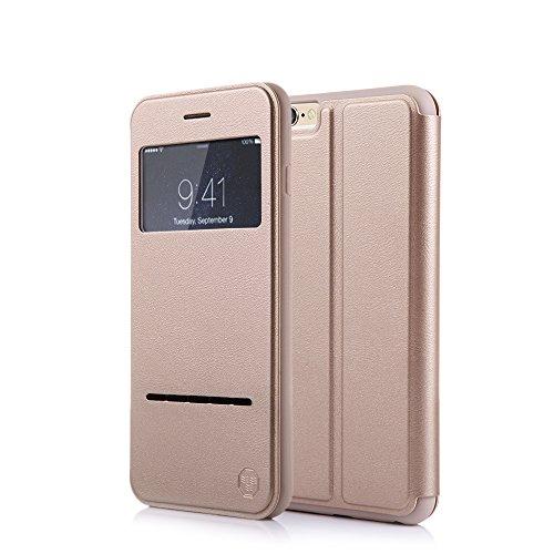 Nouske iPhone 6 6s 4.7 Zoll hülle Etui Smart Touch S View Window Leder Wallet Klapphülle Flip Book Case TPU Cover Bumper Ultra Slim Rundumschutz, Gold