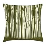 Abakuhaus Wald Kissenbezug, Mutter Natur Wald, 40 x 40 cm, mit versteckten Reißverschluss Waschbar Beidseitiger Digitaldruck Klare Farben, Grün