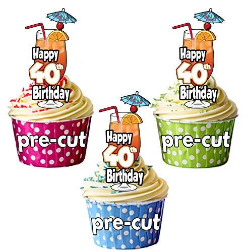 Happy 40th Birthday Cocktail Glas-vorgeschnittenen essbare Cupcake Topper/Kuchen Dekorationen-Herren-Damen-Feiern-Party 12er-Pack