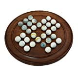 Solid Wood Solitaire Board Game with Whi...
