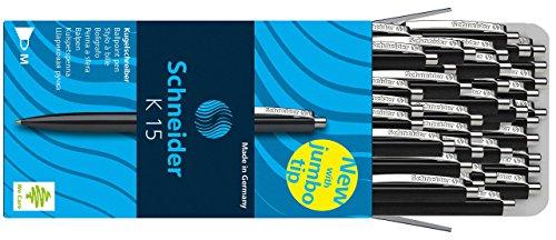 Schneider K15 Druckkugelschreiber (dokumentenechte Mine - Strichstärke M, Schreibfarbe: schwarz) 50 Stück schwarz