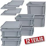 BRB 6X Stapelbox mit Deckel, Industriequalität, 3 Größen, Grundmaß 300 x 200 mm, Farbe Grau