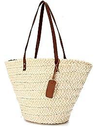 5899bb899fe1d onemoret creme Frauen Damen Sommer Stroh Beach Bag Tote Schulter Korb Reisen  Handtaschen